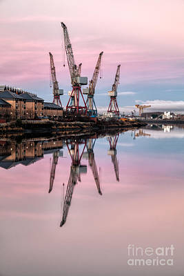 Glasgow Cranes With Belt Of Venus Art Print by John Farnan