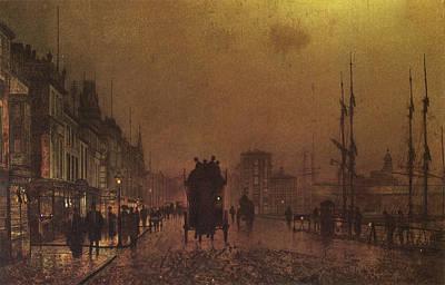 Gaslight Painting - Glasgow Docks by John Atkinson Grimshaw