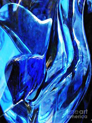 Blue And Turquoise Abstract Photograph - Glass Abstract 245 by Sarah Loft