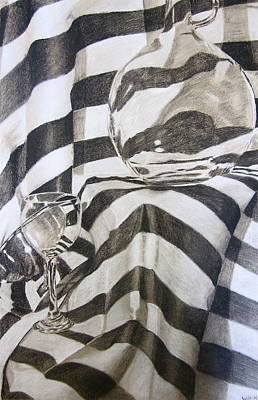 Metal Sheet Drawing - Glass And Metal Still Life by Will Matz