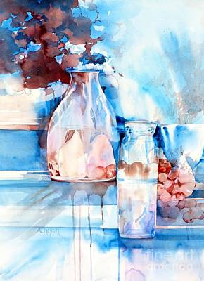 Painting - Glass And Pears by Donna Acheson-Juillet