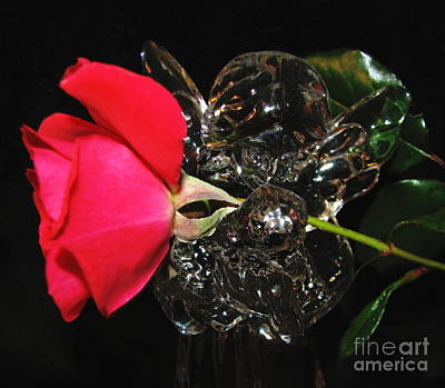 Photograph - Glass Angel Holding A Red Rosebud In Oil Painting Effect by Rose Santuci-Sofranko