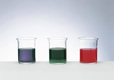 Glass Beakers Indicating Blue Art Print by Dorling Kindersley/uig