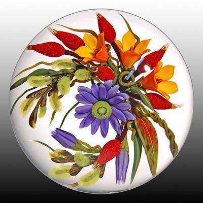 Lampwork Glass Art - Glass Blooms Leaves And Seedpods by Chris Buzzini