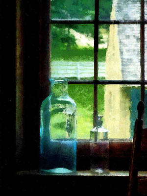 Photograph - Glass Bottles On Windowsill by Susan Savad