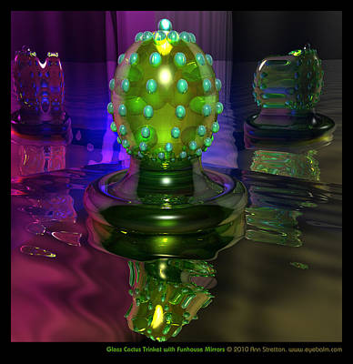 Vaseline Glass Digital Art - Glass Cactus Trinket With Funhouse Mirrors  by Ann Stretton