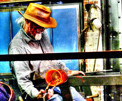 Artist Working Photograph - Glass Crafter by John Straton
