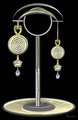 Glass Earrings And Stand Original by Lorenzo Woodard