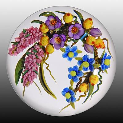 Flameworking Glass Art - Glass Flowers And Berries by Chris Buzzini