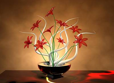 Digital Art - Glass Flowers by Louis Ferreira