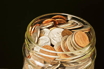 On Paper Photograph - Glass Jar Of Us Coins  by Donald  Erickson