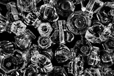 Photograph - Glass Knobs - Bw by Christopher Holmes