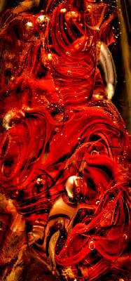 Digital Art - Glass Macro Abstract Crimson Swirls by David Patterson