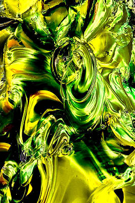 Photograph - Glass Macro Abstract - Greens And Yellows by David Patterson