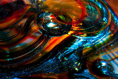 Abstractions Photograph - Glass Macro - Blues And Orange by David Patterson