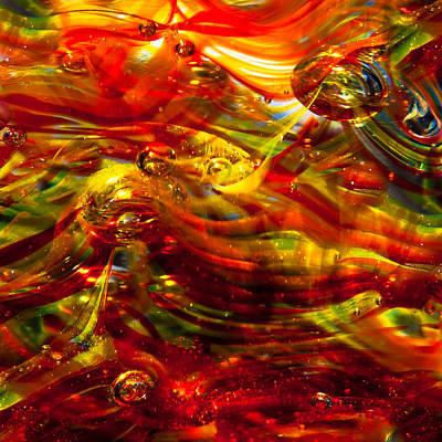 Digital Photograph - Glass Macro - Burning Embers by David Patterson