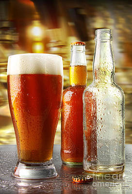 Photograph - Glass Of Beer With Bottles by Sandra Cunningham