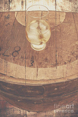 Cellar Photograph - Glass Of Cellar Brandy On Old Barrel  by Jorgo Photography - Wall Art Gallery