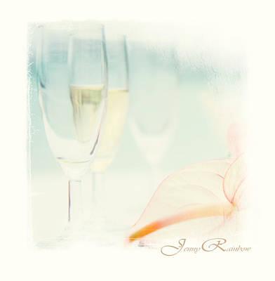 Glass Of Champagne. Elegant Knickknacks From Jennyrainbow Art Print by Jenny Rainbow