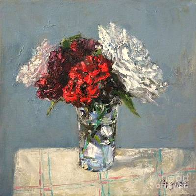 Grey Painting - Glass Of Flowers by Grigor Malinov