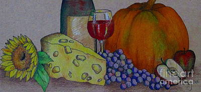 Still Life Drawings - Glass Of Red by Catherine Howley
