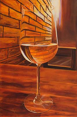 Painting - Glass Of Viognier by Alan Conder