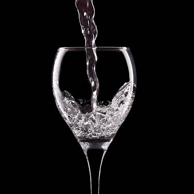 Black Background Photograph - Glass Of Water by Tom Mc Nemar