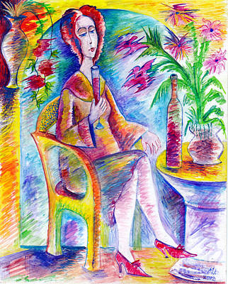 Glass Of Wine Art Print by Milen Litchkov