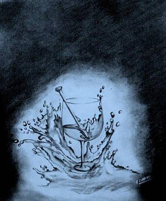 Glass Of Wine Drawing - Glass Of Wine by Samantak Panda