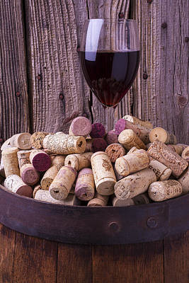 Glass Of Wine With Corks Print by Garry Gay