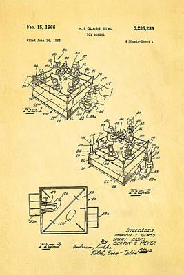 Glass Rock Em Sock Em Robots Toy Patent Art 1966 Art Print