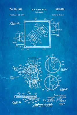 Glass Rock Em Sock Em Robots Toy Patent Art 2 1966 Blueprint Art Print by Ian Monk