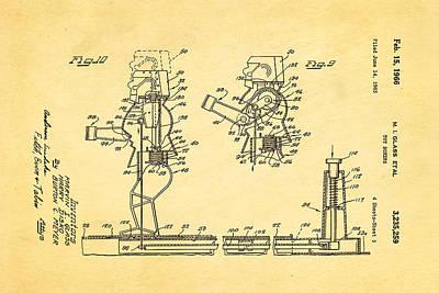 Glass Rock Em Sock Em Robots Toy Patent Art 3 1966 Art Print by Ian Monk