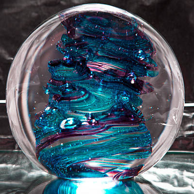 Paper Weight Sculpture - Glass Sculpture Blues And Purple Rb4 by David Patterson