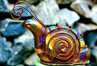 Photograph - Glass Snail Garden Art by Karon Melillo DeVega