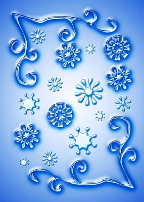 Baby New Year Digital Art - Glass Snowflakes by Anastasiya Malakhova
