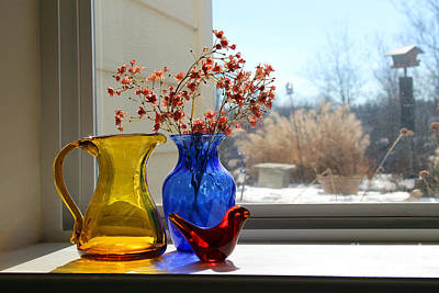 Photograph - Glass Still Life In Window by Karen Adams