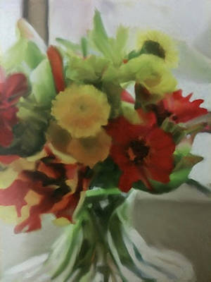Painting - Glass Vase Bouquet by Dennis Buckman
