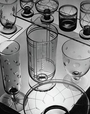 White House Photograph - Glasses And Crystal Vases By Walter D Teague by The 3