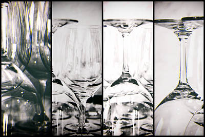 Wine Glasses Collage Art Print by Georgia Fowler