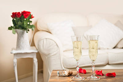 Single Red Rose Photograph - Glasses Of Champagne by Amanda Elwell