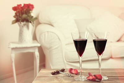 Cushions Photograph - Glasses Of Red Wine by Amanda Elwell