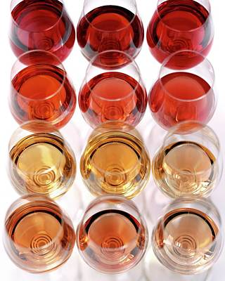 Alcohol Photograph - Glasses Of Rose Wine by Romulo Yanes