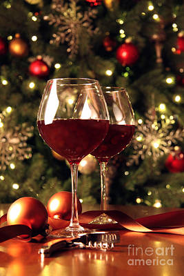 Photograph - Glasses Of Wine In Front Of Christmas Tree by Sandra Cunningham