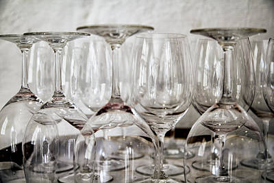 Wine Glasses On A Barrel Art Print