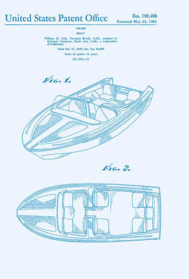 Glasspar 1960's California Boat Art Print