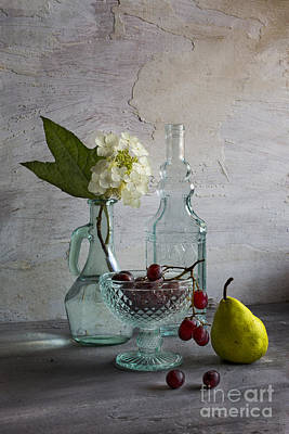 Grape Leaves Photograph - Glassware And Fruits by Elena Nosyreva