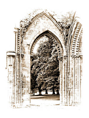 Photograph - Glastonbury Abbey Arch Ruins by Menega Sabidussi