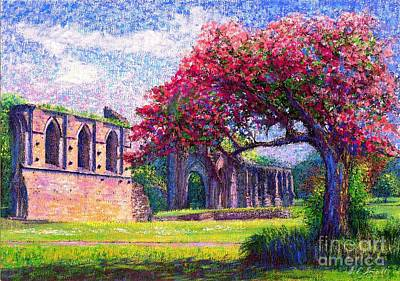 Mystical Landscape Painting - Glastonbury Abbey Blossom by Jane Small