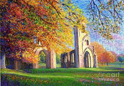 Quiet Places Painting - Glastonbury Abbey Fall by Jane Small